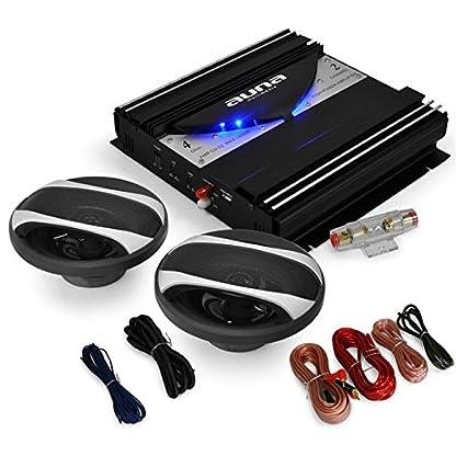AUNA-Black-Line-200-Autoendstufe-HiFi-Lautsprecher-Boxen-Komplett-Set-2X-400W-Boxen-1400W-Endstufe-16cm-regelbarer-Tiefpass-Filter-schwarz-metallic-Design