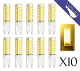 Vansuky 10 x G9 6.5W LED-Lampen, 3000K Warm weiße LED-Lampen, CRI > 80, 75LEDs 2835SMD, 55W Halogen Lampen Äquivalent, 600LM, AC 220 ~ 240V, Abstrahlwinkel 360°, LED Energiesparlampen