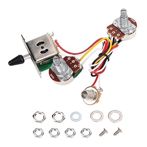 Dilwe Conjunto de Cableado para Guitarra Eléctrica, Arnés Cableado Conjunto 3 Vías Interruptores de Palanca 500K Piezas