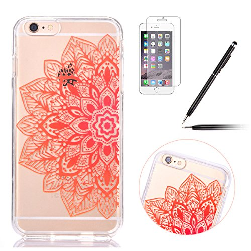 iPhone 6 Plus Hülle,iPhone 6S Plus Case,iPhone 6S Plus Silikon Cover - Felfy Ultra Dünne Slim Full Body Transparent Soft Gel TPU Silikon Rahmen mit Plastic Back Case Schöne Bunte Muster Design Case Rü Orange Blumen