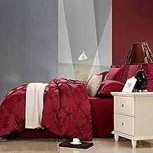 MeMoreCool Europea delicada hecha a mano Plaid patrón cómodo Top grado lavado seda 100% satén de algodón de juego de ropa de cama 4piezas tamaño completo color gris funda de edredón y sábana encimera, seda sintética, Rojo2, Matrimonio doble