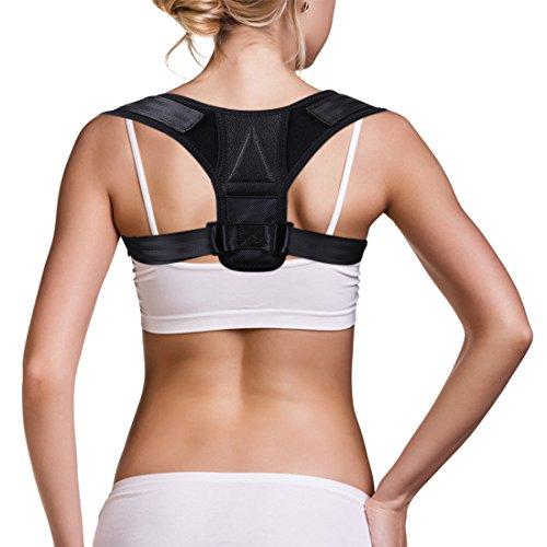 JRG - Corrector de postura de espalda para mujeres y hombres, transpirable y ajustable, soporte de postura de espalda para alivio del dolor de espalda y cuello (negro)