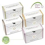 Novità del Pirineo-Pack di saponette di latte di capra 100% naturali, 4Tipi, con argilla verde, con rosa mosqueta, con Calendula e ripiena con cera d' api e avena. Per Pelle Sensibile. immagine