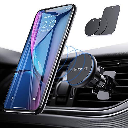VANMASS Handyhalter fürs Auto Magnet Kfz Handy Halterung Lüftung Superstark Magnetkraft mit 6 Magnete und 3 Metallplatte Magnetische Auto Handyhalterung 360° Drehbar für iPhone iPad Samsung Huawei usw - Iphone-halterung Magnetisches