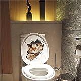JD Million shop 3D Loch, Vivid Katzen Wandtattoo Badezimmer WC-Wohnzimmer Kühlschrank Dekoration Tier Aufkleber Art Aufkleber Wand Poster