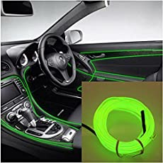 Ramanta™ EL Wire Car Interior Light Ambient Neon Light for Cars - 5 Meter Roll (Lime Green, Pack of 1)