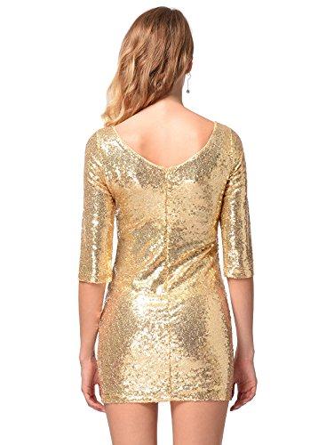 Frauen halbe Hülse Pailletten-Kleid tief V zurück Clubwear Abendkleid Gold S - 5