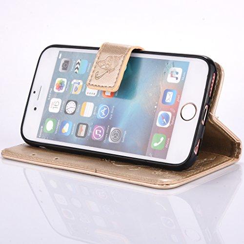 iPhone 6 6S (4,7 Zoll) Coque,Cozy Hut Coque iPhone 6 6S (4,7 Zoll) Case Housse Étui en PU Cuir Bumper Flip Cover Bookstyle Support Cartes Slots Ultra Mince Léger Fermeture Aimantée Étui iPhone 6 6S (4 d'or