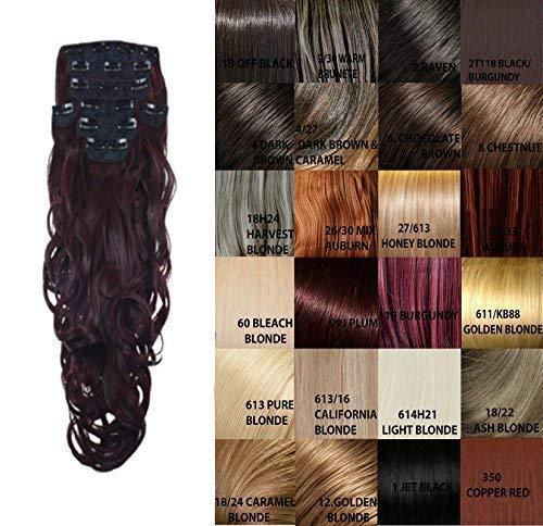Haute für Diva's Promi Inspiriert Clip in 8 Stück 46cm Lockig Voller Kopf Haar Verlängerung Welle Haarteil Set - 2T118 Schwarz/Burgund, 45cm -