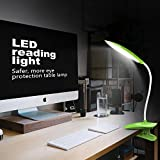 Clip on Reading Light, Yunbaoit Eye-Care Desk Lamp,LED Book Light,Clip Lights for Beds, USB Rechargeable,Multi-Level dimming,Touch-Sensitive Control Adjustable,Study and Office (Green)