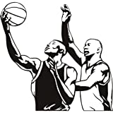 Jugadores de baloncesto & Pelota Deportes americanos vinilos decorativos Gimnasio en casa decoración art pegatina disponible en 5 tamaños y 25 colores Mediano Blanco