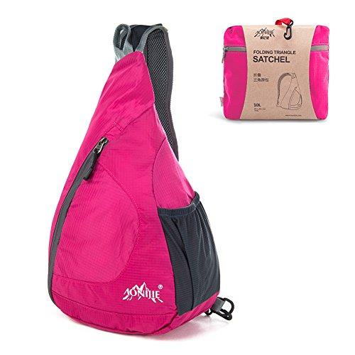 GSTEK Schulter-Rucksack Leichter Faltbarer Schulter-Rucksack Umhängetasche für Den Outdoor-Sport, Radfahren, Wandern, Camping, Schule - Rosa