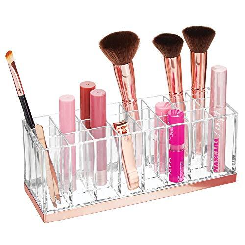 mDesign Rangement Maquillage Pratique – boîte à Maquillage déco pour Vernis à Ongles et Rouge à lèvres – présentoir Make up à 24 Compartiments – Transparent et Couleur Or Rouge
