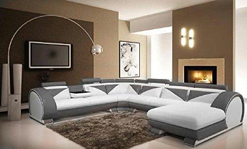 JVmoebel Grau/Weiß Sofa Leder, 170 x 87 x 87 cm