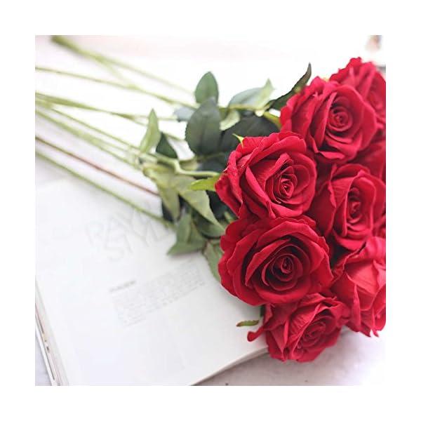 Flores Artificiales Decoración Rosas Plásticas de Seda 9 Cabezas Ramo Nupcial de la Boda para el Hogar Fiesta (Blanco…