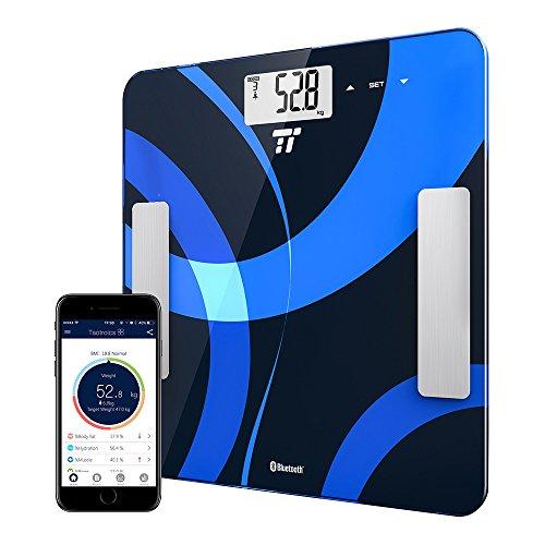 Körperfettwaage TaoTronics Personenwaage Gewichtswaage Digitale Körperwaage mit App-Anbindung zum Messen von Gewicht, BMI, Fett, Wasser, Muskeln, Knochenmasse, BMR & AMR