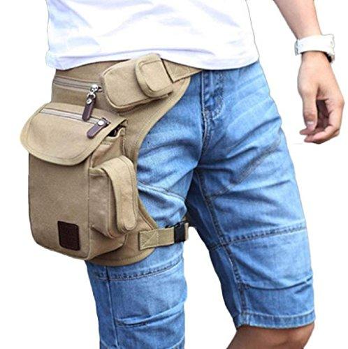 mochilas hombres Sannysis hombres Bolsa de la pierna de lona (Beige)