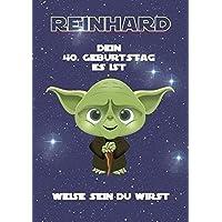 Geburtstagskarte für Mann oder Frau als Geschenk in DinA4 - Motiv: Star Wars (hier 40) | Personalisierte Geschenke zum Geburtstag für Männer (Bspw. Jahrgang 1968: 50 Jahre, 1958: 60 Jahre.)