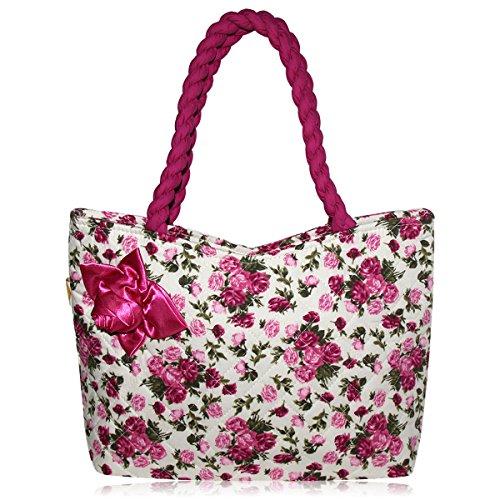 Pataya PTB079 Frauen-Einkaufstasche Multi Use Handtasche Stilvolle Schulter-Beutel Mit Raffinesse Seide Rosa (Seide Handtasche)