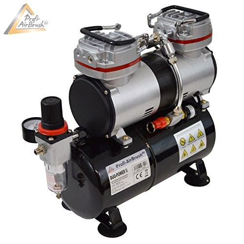 AEROGRAFO COMPRESSORE a DUE CILINDRI DUO-POWER II KIT AEROGRAFIA il dispositivo PROFESSIONALE, attrezzature di base per ogni set airbrush per PROFIS airbrush compressore con 2 LIVELLI SELEZIONABILI