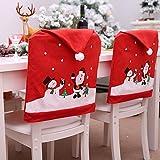 Cozyhoma - 6 fundas de Navidad para respaldo de silla con gorro rojo de Papá Noel en la parte trasera, decoración de mesa par