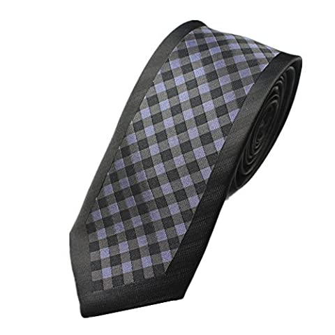 Z-P Mens Retro Black Lattice Luxury Microfiber Necktie Knit Polyester Skinny Tie