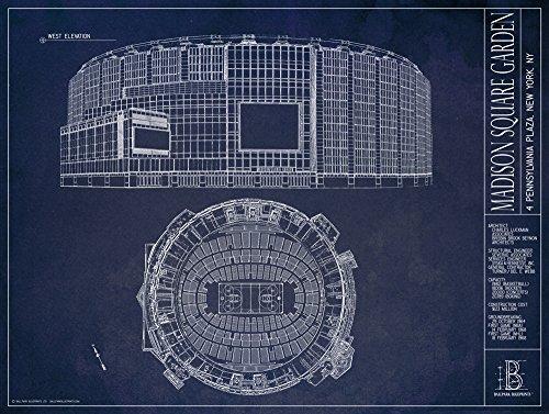 Madison Square Garden Blueprint Stil Print, 18