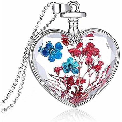 tianqin WY Forget Me Not Real Dry Fiore Cuore Bottiglia Di Vetro Collana Con Ciondolo trasparente collare collana 08
