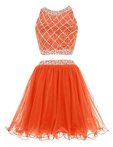 Dresstells Robe de soirée de cocktail Robe de bal deux pièces en tulle emperlée longueur genou Orange