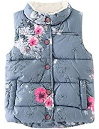 Vêtements Gilet sans manches Enfant Bébé Garçon fille, Koly Veste florales Thick Tops Automne Waistcoat manteau d'hiver chaud