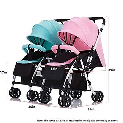 Cochecito Doble For Bebés Y Bebés En Tándem, Múltiples Configuraciones De Asientos, Cochecito Doble, Cochecito Doble En Tándem Con Respaldo Ajustable, Reposapiés, Diseño Plegable For Facilitar El Tran