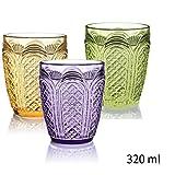 JIEJIEDE Bunte saft gläser sets,Palast-retro prägen trinken gläser blei frei kristall weingläser für bier-whisky-milch-saft-tee kaffee 200ml & 320ml-B
