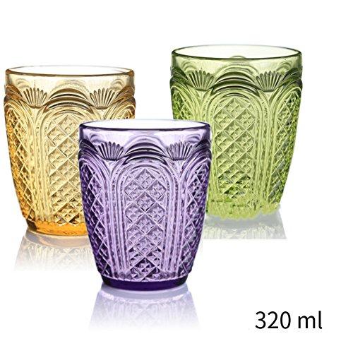 Sets Retro Gläser Trinken (Bunte saft gläser sets,Palast-retro prägen trinken gläser blei frei kristall weingläser für bier-whisky-milch-saft-tee kaffee 200ml & 320ml-B)