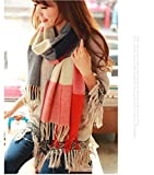 RICISUNG Warm Oversized Cozy Checked Cotton Scarf Shawl,Women Autumn Winter Long Scarf Cashmere Tartan British Style