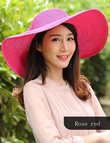 Été féminin Grand dôme d'avant-toit chapeau de paille bord de mer Loisir Ombre Crème solaire ( couleur : 4 ) 4