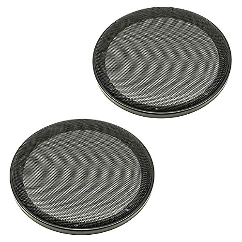 tomzz Audio 2800-003 Lautsprecher Gitter Grill für 200mm Lautsprecher, schwarz, 2-teilig Kunststoffring mit Metallgitter, Satz