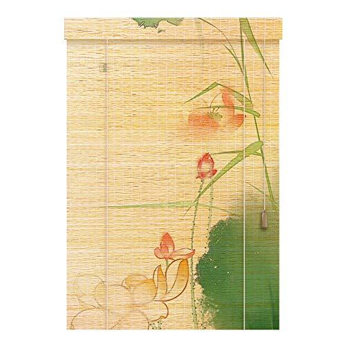 QRFDIAN Schilfrohr-Vorhang Bambus Vorhang Rollvorhang Retro Zen Grass Vorhang Trennvorhang, 3 Stile in Verschiedenen Größen, Bambus, a, 60X180cm