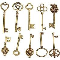 TININNA 10 diverso estilo llave de tono de bronce antiguo clave Colgante Collar de la manera
