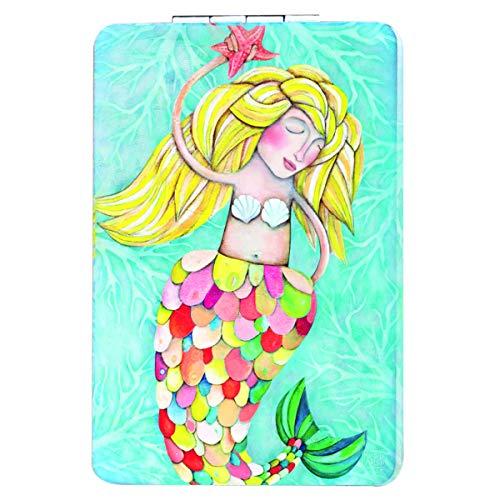 Allen Designs [Q1979] - Espejo de bolsillo turquesa multicolor 'Allen Designs' sirena- 8.5x5.5 cm.