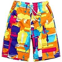 Pantalones de secado rápido Hombre Boardshorts Casual Holiday Pantalones cortos de playa suelta Naranja
