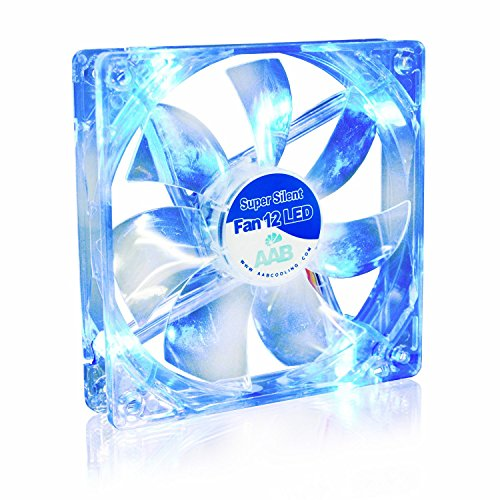 AAB Cooling Super Silent Fan 12 Blue LED - Leise und Efizient 120mm Gehäuselüfter mit 4 Anti-Vibration-Pads und Blauer LED Beleuchtung - Prozessor Lüfter | PC Fan | Gehäuselüfter LED Blau | CPU Kühler