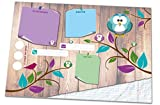 DIN A3 Schreibtischunterlage mit lustigem Uhu- bzw. Eulen-Motiv aus Papier, 25 Blatt Schreibunterlage zum Abreißen (30 x 42 cm) für Kinder und Erwachsene mit To-Do-Liste, Notizfeldern, Freifeldern