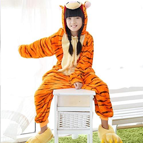 HNLJ Kinder Panda Pyjamas Baby Body Kinder Tiernachtwäsche Kostüm Anime Hoodie for Mädchen Jungen Sleepers Pyjamas (Color : Tiger, Size : 5) -