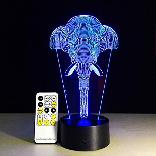 3D Nachtlicht Visualisierung Glow 7 Farbwechsel USB Touch-Taste Und Intelligente Fernbedienung Schreibtisch Tisch Beleuchtung Schönes Geschenk Home Office Dekorationen Spielzeug (Stamm)