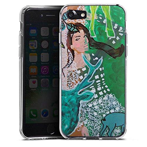 Apple iPhone X Silikon Hülle Case Schutzhülle Frau Hirsch Muster Silikon Case transparent