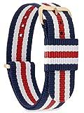 MOMENTO Damen Herren NATO Nylon Uhren-Armband Ersatz-Armband Uhren-Band mit Edelstahl-Schliesse in Rosé-Gold und Blau Weiss Rot Gestreift 22mm