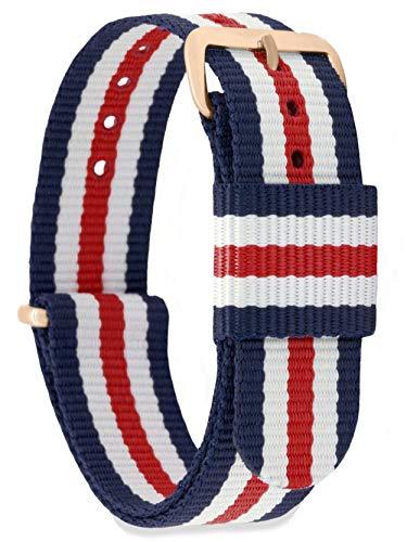MOMENTO Damen Herren NATO Nylon Ersatz Uhren-Armband Strap mit Edelstahl-Schliesse in Rose-Gold und Nylon-Armband in Blau Weiss Rot 16mm (Armband Blau, Weiß, Rot,)
