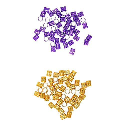 MagiDeal 100 Pièces Cheveux Tresse Poignet Réglable Cheveux Dreadlock Perles Violet + Jaune