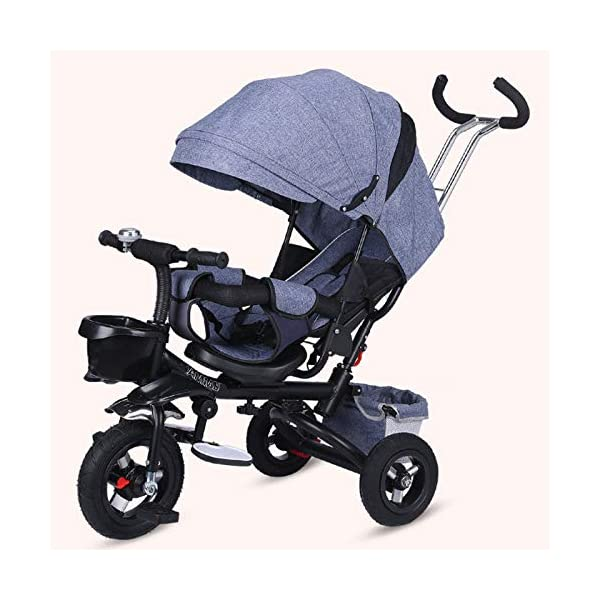 BGHKFF 4 In 1 Childrens Tricycles 8 Months To 6 Years 5-Point Safety Belt 360° Swivelling Saddle Kids' Trikes Adjustable Push Handle Childrens Folding Tricycle Maximum Weight 30 Kg,Gray BGHKFF ★ 4 in 1 multi-function: can be converted into a stroller and a tricycle. Remove the backrest and awning and use the putter as a tricycle. The best choice for 8 months to 6 years. ★ Tricycle foldable, space saving, easy to carry, is the best travel companion; adjustable push rod, push rod is directly connected to the tricycle handlebar through the steering link, parents can use the push rod to control the direction. ★ Rear wheel double brakes, 2 foldable footrests, non-slip handles and pedals, bells, 2 baskets, safe and comfortable driving experience. 5-point seat belt 1