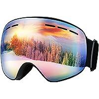 Mpow Skibrille Damen und Herren, 400 UV-Schutz Snowboard Brille, Doppel-Objektiv Anti-Fog Skibrille, Skibrille mit rahmenloser Linse für Schneemobil-, Skifahren oder Skaten